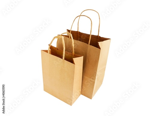 two disposable shopping bags isolated on white background