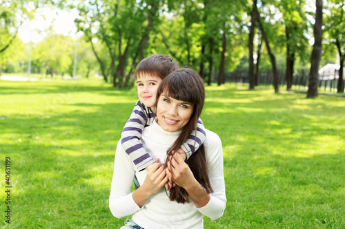 Mother with her son outdoor