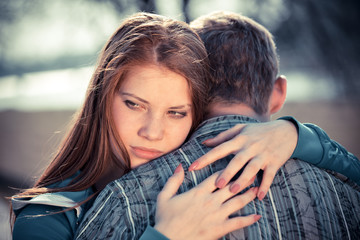 conflict in young people couple relationship outdoors