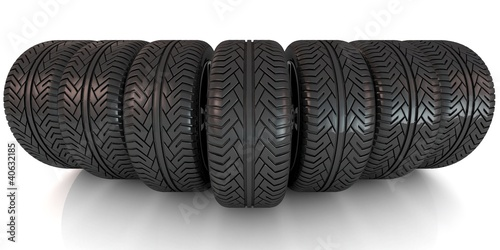New car wheels isolated on the white background
