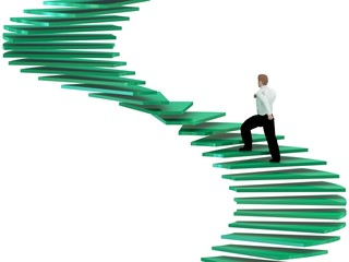 3d human on career stairs