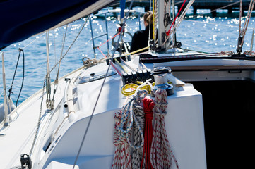 Sailing boat ropes and rigging equipment