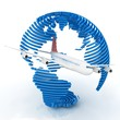 Airliner with globe in the white background