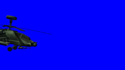 Apache helicopter passing by bluescreen