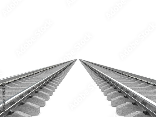 Railroad over white background. 3d image