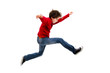 canvas print picture - Boy jumping, running isolated on white background