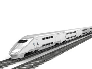 Modern high speed train on white background