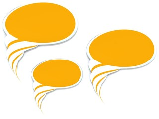 Blank speech bubbles.