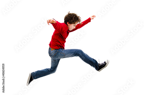 Boy jumping, running isolated on white background