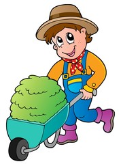 Cartoon farmer with small hay cart