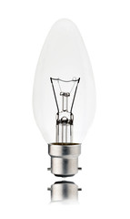 Bayonet Candle Shaped Lightbulb with reflection Isolated