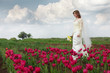 bride in tulips field