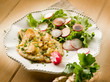 cutlet with ginger green salad and radish