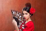 Fototapety Gipsy flamenco dancer Spain girl with red rose