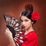 Flamenco dancer woman gipsy red rose  spanish fan