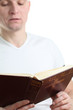 Man reading the Bible. Focus on the Bible