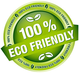"Button Banner ""100 % Eco Friendly"" green"