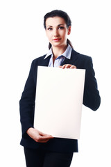 Attractive business woman with empty paper sheet