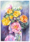 Fotoroleta Aquarelle de fleurs