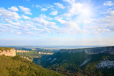 Morning view from top of Mangup ancient settlement poster