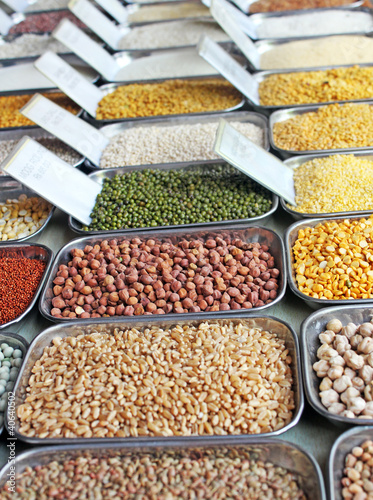 Pulses, grains and cereals  in an indian market