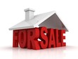 3d illustration of house for sale sign over white background