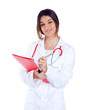 brunette indian doctor woman with red folder