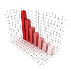 3D red business bar chart graph on white background