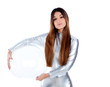 futuristic silver woman holding glass helmet