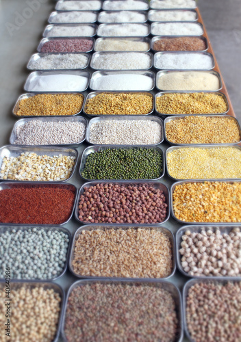 Indian pulses and cereals in an bazaar in bangalore, karnataka