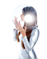 brunette futuristic silver woman profile glass helmet