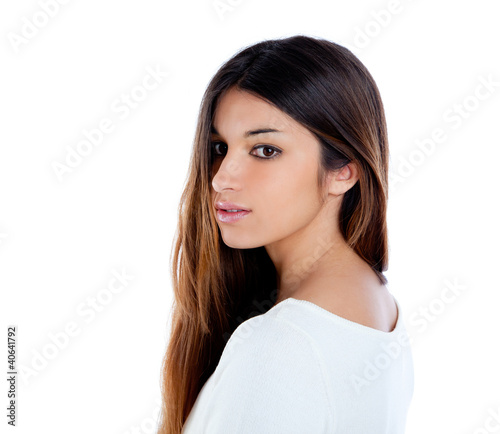 Asian indian profile girl brunette portrait