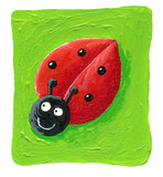 Cute ladybug on the green background