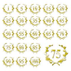 Jubiläumskranz Zahlen-Set gold
