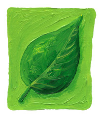 Green leaf on the green background