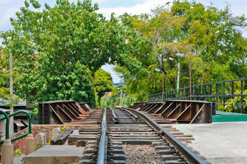 Railroad against tree background