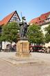 Leinwanddruck Bild - Marktplatz Jena mit Johann Friedrich Denkmal, Deutschland