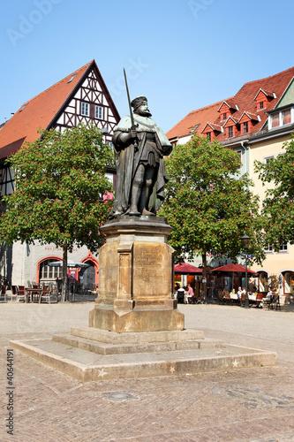 Leinwanddruck Bild Marktplatz Jena mit Johann Friedrich Denkmal, Deutschland