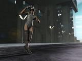 Sexy scifi female bounty hunter in the city poster
