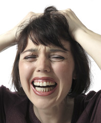 unhappy frustrated  woman screaming