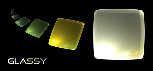 Abstract glassy shapes on a black background