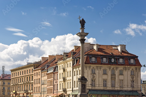 Sights of Poland. Warsaw Old Town with shadow of Royal Castle.
