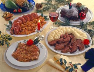 Piatti cucinati per menù di Natale