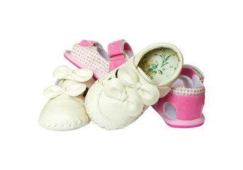 Pink end white  baby girl little shoes with laces
