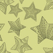 Seamless pattern with decorative stars. Vector background.