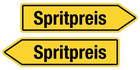 2 Pfeilschilder gelb SPRITPREIS