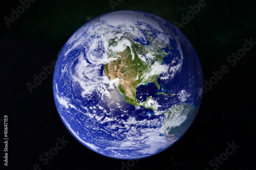 canvas print picture planet Earth in galaxy space