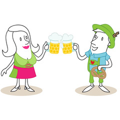 Figur, Dirndl, Lederhosen, Bierkrüge, Oktoberfest, Anstoßen
