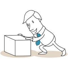 Geschäftsmann, Box, Umbau, Umstrukturierung