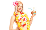 Female dressed in a hawaiian costume holding a cocktail